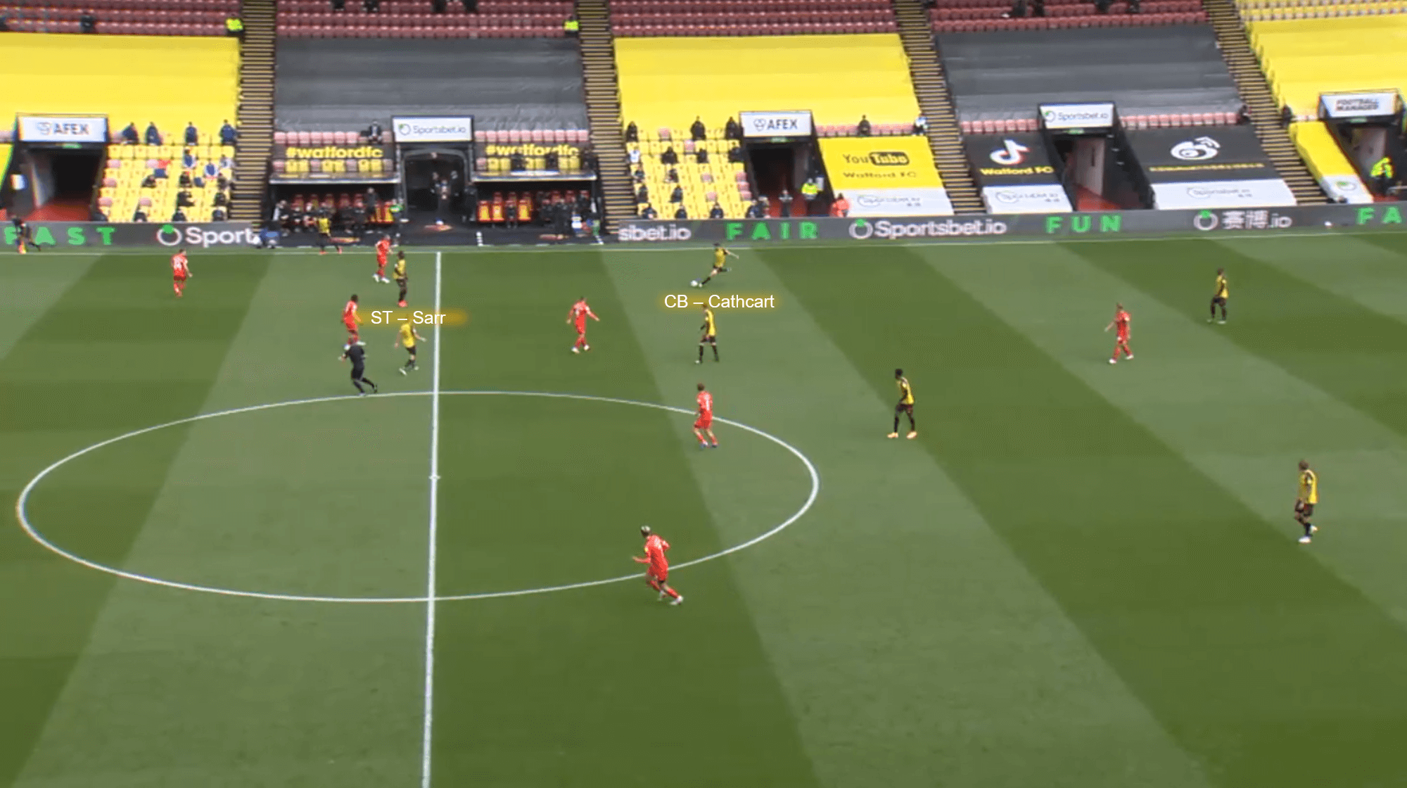 Sema picks the ball up near the touchline and plays it into the space João Pedro created. However, the through ball is hit just too hard for Cleverly to latch onto and the goalkeeper collects. This sequence happens in just the 4th minute of the game and shows early signs of Watford's game plan. As stated earlier, Watford manages to score from a chance much similar to the one above, showing this was how they chose to pick apart Luton's defence.